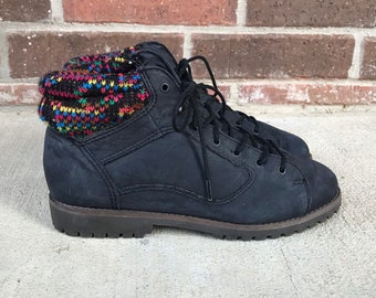 vintage 80s RAINBOW TRIM Black Nubuck Leather BOOTS 6 lace up ankle boots hiking boots grunge colorful knit winter boots preppy flat shoes