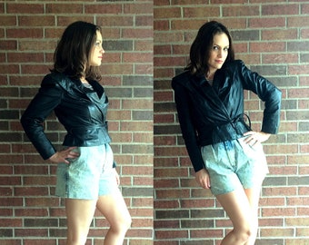 vtg 80s Black Cropped LEATHER MOTORCYCLE JACKET Small belted crop moto skinny cafe racer coat outerwear