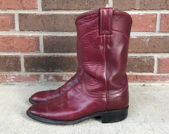 vintage 80s BURGUNDY leather ROPER BOOTS 6.5 womens grunge cowboy boots Justin boots oxblood maroon western mid calf rockabilly winter boots