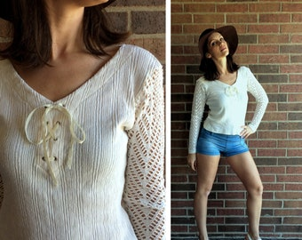 6d0a813412 vtg 90s cream CROCHET sheer sleeves CORSET TOP Medium fitted festival boho  hippie cut out grunge cropped lace up ribbed shirt blouse beige