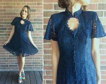 0cb3b7ed60 vintage 90s Navy Blue Sheer LACE full skirt Mini Dress SKATER DRESS Small  corset dress lace up Victorian grunge dress flare skirt 90s dress