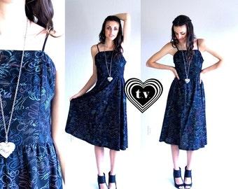 57232a40e849 vtg 80s pastel CHALK PRINT doodle Sun DRESS S black full skirt retro unique  pleated indie summer boho