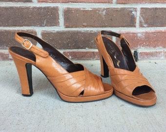 92dd4859e4 vintage 70s BUTTERSCOTCH peep toe Platform BABYDOLL HEELS 8.5 70s disco heels  pumps sexy caramel leather shoes glam boho retro platforms