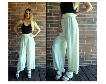 true vintage 30s CREAM high waisted SAILOR PANTS 25 xs rayon pants pinup  high waist vintage 1930s 40s pants loungewear beach pajama wide leg 3e33ee6cd