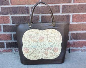 vtg 60s Brown PASTEL TAPESTRY Vegan HANDBAG large bag mod purse hand bag  top handle retro 60s purse madmen floral midcentury clutch manmade ce372f3575c44