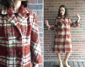 f873dfc1781b1 vtg 50s Scarlet AUTUMN PLAID thick wool Boucle COAT Large shaggy mod pinup  madmen classic simple cream swing new look outerwear jacket