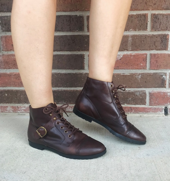 vintage 90s Dark Brown BUCKLE lace up GRANNY BOOTS
