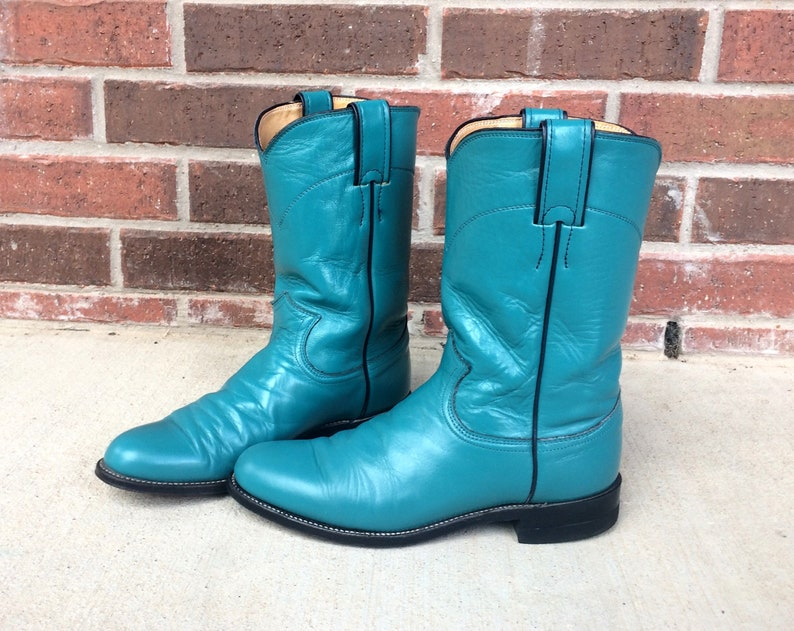 f9a48359743 vtg 80s TURQUOISE cowboy ROPER BOOTS 6.5 womens teal aqua leather grunge  western cowboy vibrant rare bright