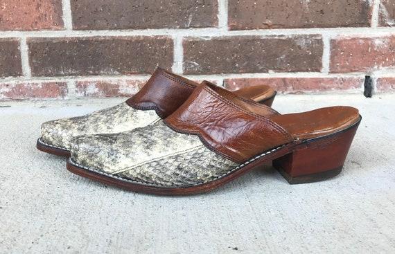 vintage 90s Grey REAL SNAKESKIN MULES heels 8 west