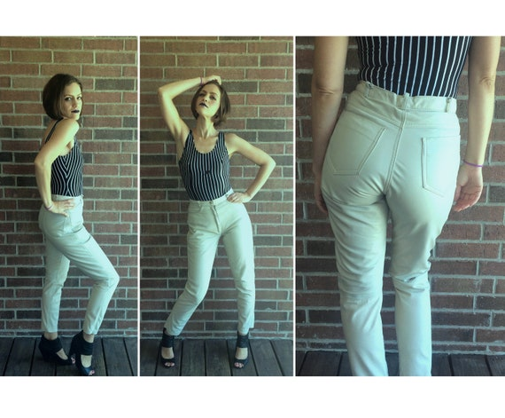 vintage 80s WHITE High Waist LEATHER PANTS Small/2