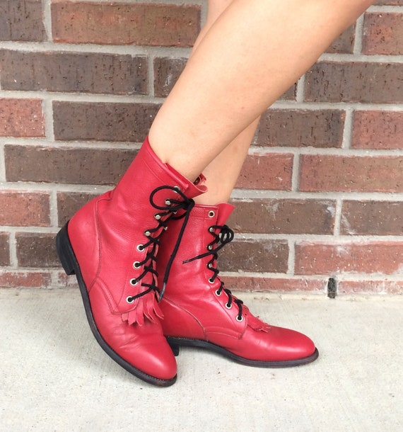 grunge cowboy FRINGE leather vtg RED womens 80s western BOOTS leather 9 rockabilly Roper q8wprv8t