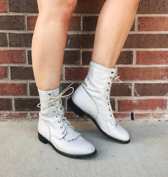 vintage 80s Pearl White FRINGE lace up ROPER BOOT… - image 3