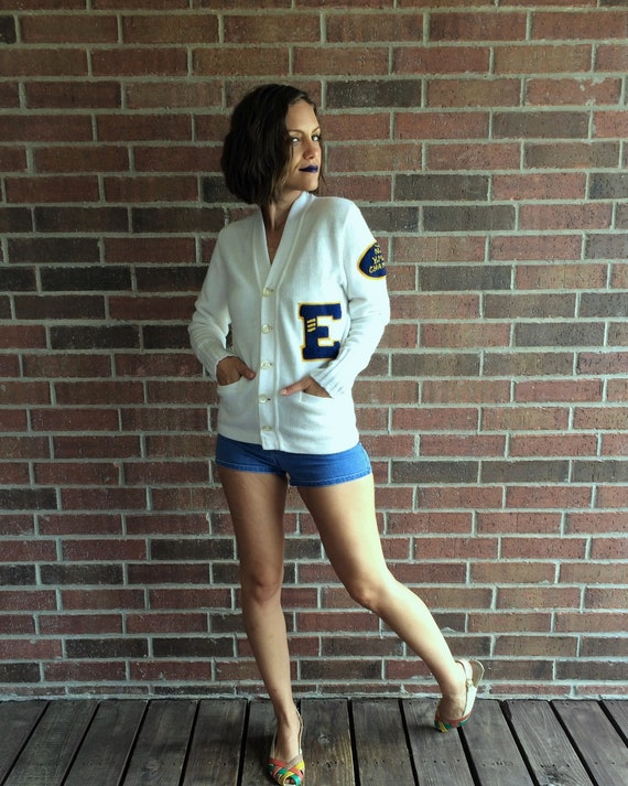vintage 50s white YMCA LETTERMAN SWEATER Small fu… - image 3