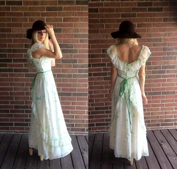 hippie boho Green open xs DRESS 70s Floral RUFFLE prairie festival vtg cream gown back MAXI Print qfSvBppxw