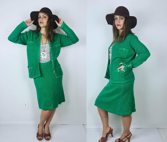 vintage 80s Kelly Green MILITARY Two-Piece SUIT SE