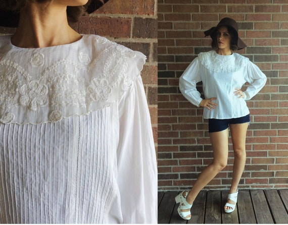 vintage 90s White OVERSIZED COLLAR Embroidered BLO