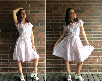 vtg 80s pastel pink PLAID Full Skirt DOLLY DRESS Med/Large belted gray indie retro hipster
