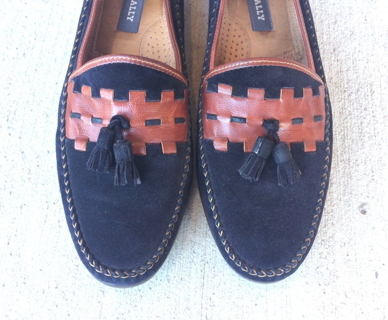 30f7c5c66c57e vintage 80s Mens BALLY two tone TASSEL LOAFERS 11 black suede leather  Italian dress shoes oxfords brogues vintage shoes fringe made in Italy