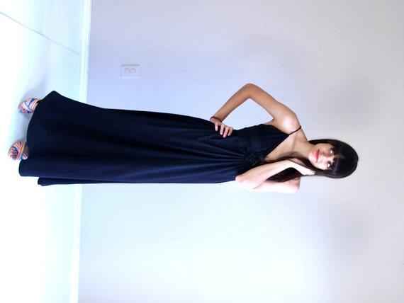 vintage 70s black CROCHET open back MAXI DRESS xs… - image 2