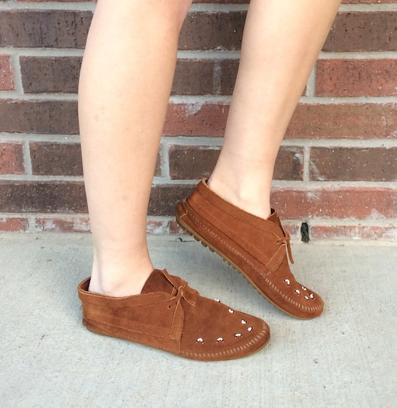 vintage 80s brown MINNETONKA suede leather BEADED