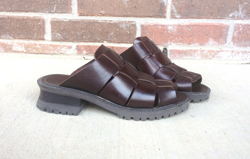 3f93f077cc3 Vintage 90s Brown Leather CHUNKY peep toe Strappy MIA SANDALS