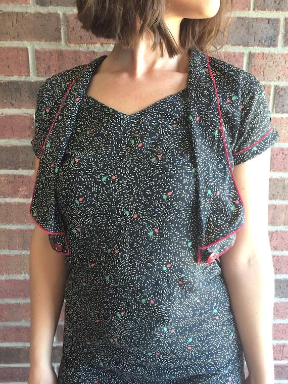 vtg 30s black SWIRLING LEAVES print DRESS Small a… - image 4