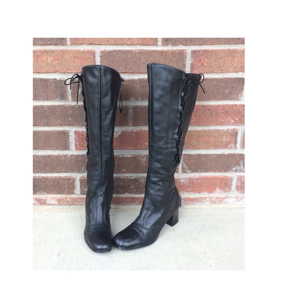 Rare vintage 60s black CORSET Space Age TALL BOOTS