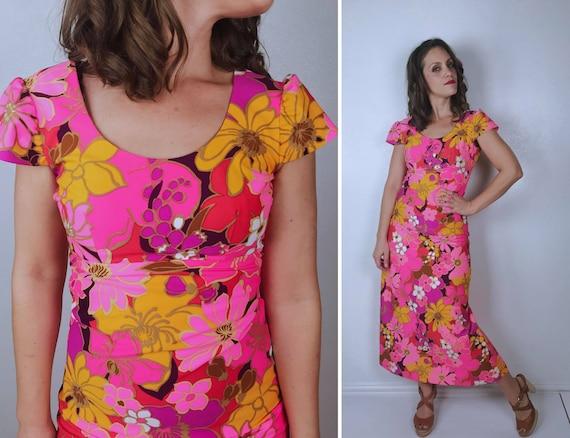 vintage 60s Hot Pink FLOWER POWER Maxi DRESS xs da