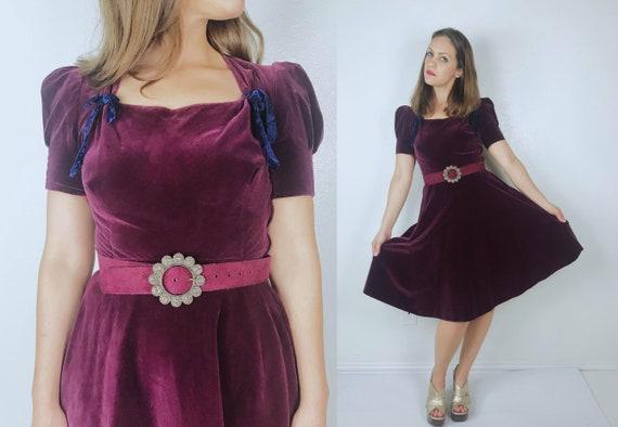 vintage 30s Plum Velvet ZODIAC BELT Full Skirt DRE