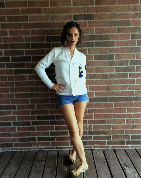 vintage 50s white YMCA LETTERMAN SWEATER Small fu… - image 9