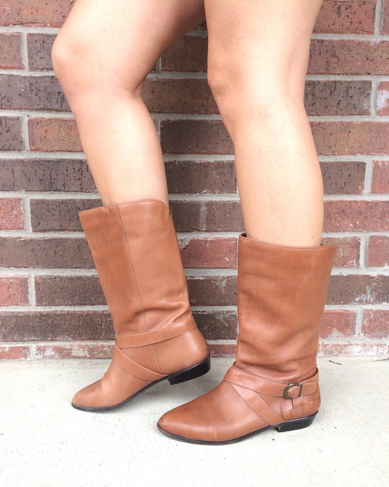 9a44a0ad85e8d vtg 80s Toffee Brown BUCKLE Riding HARNESS BOOTS 8 leather 9 West tall  flats boho hippie fall winter