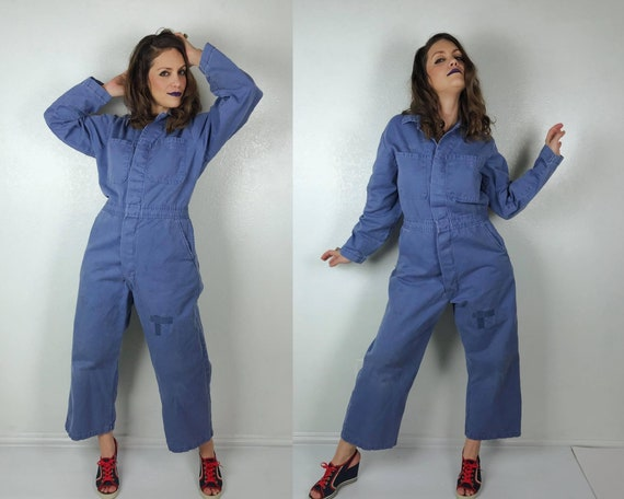 vintage Periwinkle UTILITY Zip Up JUMPSUIT 40/wome