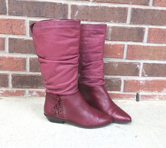 001ece0aa58d8 vtg 80s Burgundy SLOUCHY lace up corset RIDING BOOTS 6/6.5 textured faux  reptile tall knee high pointy riding flat leather boho heels hippie