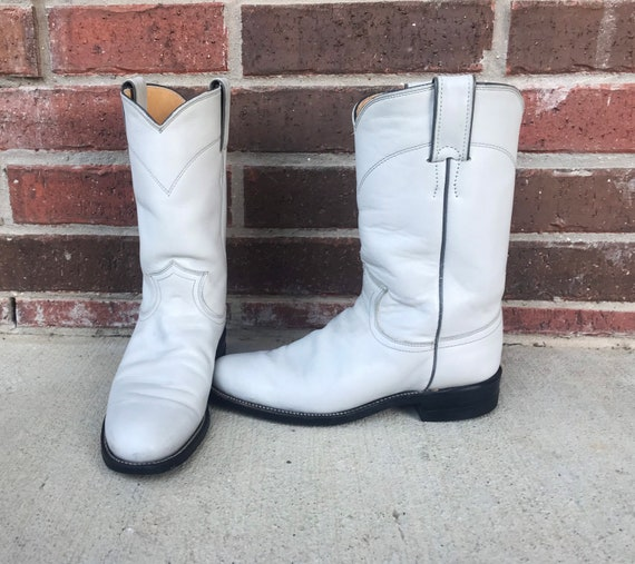vintage 80s Pearl WHITE pull on ROPER BOOTS 5.5 pa