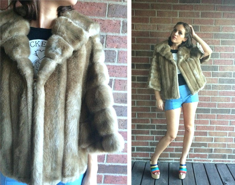 656f8dcbf Vtg 60s Beige SWING faux mink FUR CAPE small medium pinup coat
