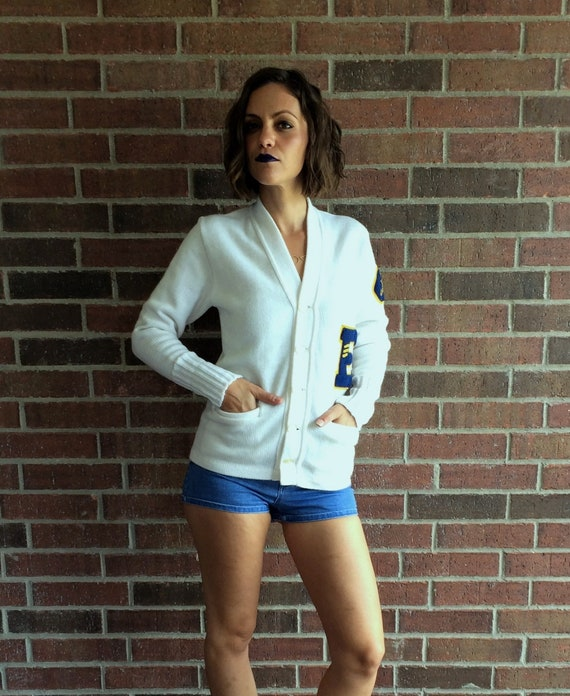 vintage 50s white YMCA LETTERMAN SWEATER Small fu… - image 7