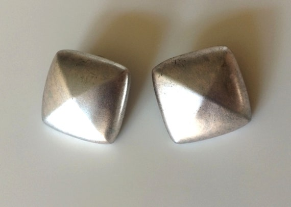 vintage 80s HUGE brushed silver GIVENCHY EARRINGS