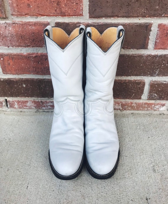 vintage 80s Pearl WHITE pull on ROPER BOOTS 5.5 p… - image 3