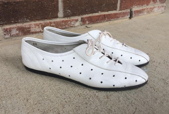 designer vtg White cut POLKA DOT lace boho out brogues preppy 8 shoes leather up OXFORDS flat 80s HZgqHxA