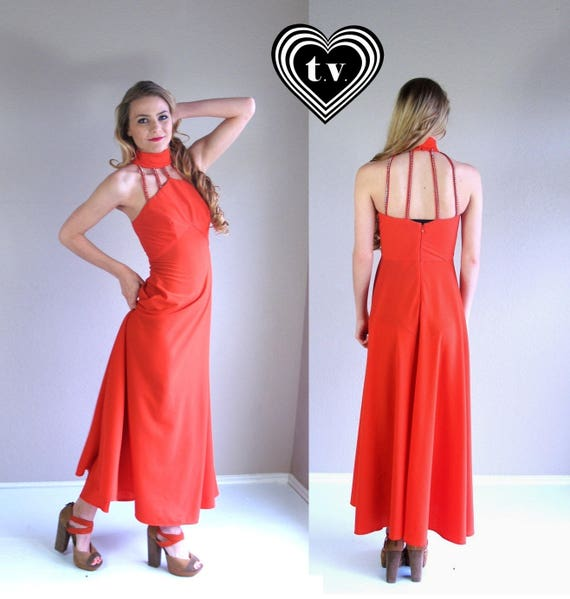 vintage 70s FIRE RED cut out Cage DRESS Small open