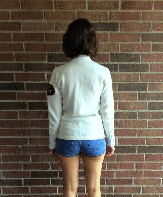 vintage 50s white YMCA LETTERMAN SWEATER Small fu… - image 10