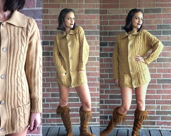 vtg 60s DIJON cable knit PENDLETON SWEATER cardigan Large 100%  a0a7834e9