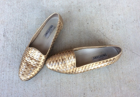 FLATS shoes loafers GOLD bronze festival 9 hippie boho leather vintage 5 Woven silver METALLIC shoes 80s ZvRqpX
