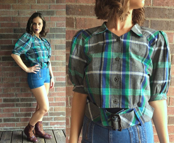 vintage 40s style Green, Blue PLAID Buckle CROP TO