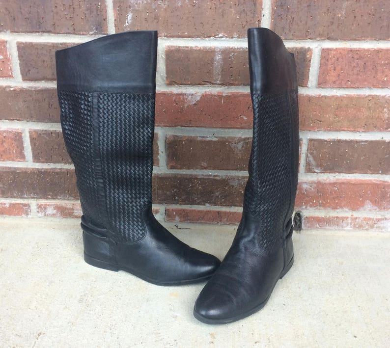 dba69228d3f5c vtg 80s Black TALL Woven Leather RIDING BOOTS cuff 6 pirate flat knee high  shoes boho equestrian preppy harness