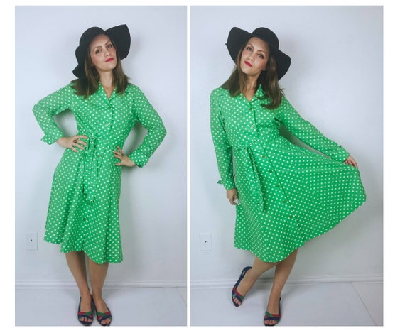 vintage 70s Lime Green POLKA DOT French Cuffs DRES