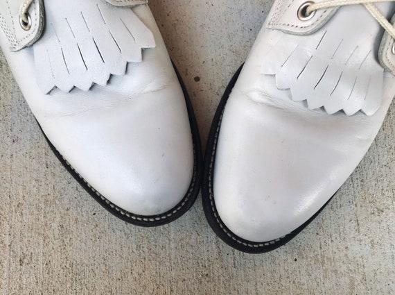 vintage 80s Pearl White FRINGE lace up ROPER BOOT… - image 4