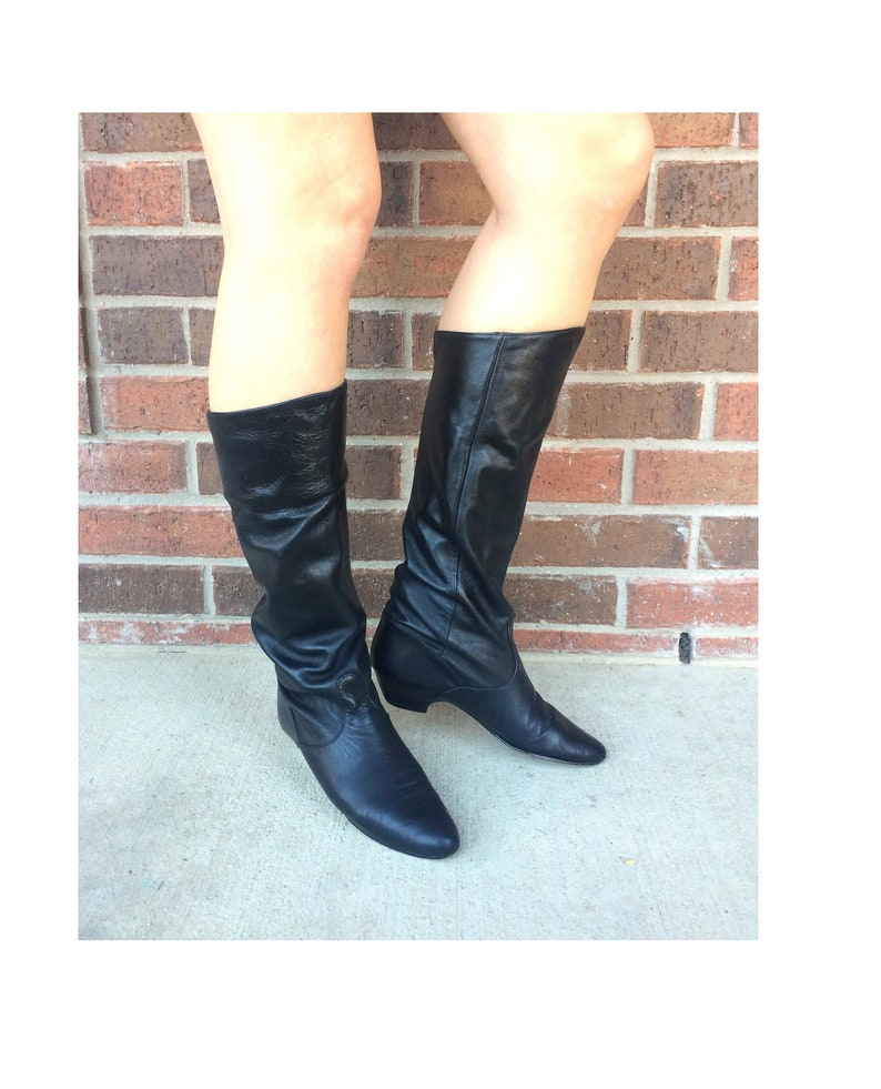 ac860c4377e9e vtg 80s BLACK Tall Cuff RIDING BOOTS 6.5 heels pirate boho preppy slouchy  leather shoes