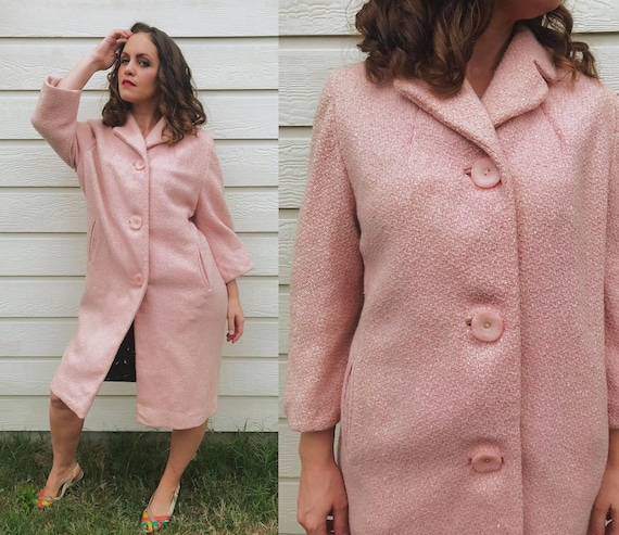 Sweetest vintage 50s PASTEL PINK winter COAT os wo
