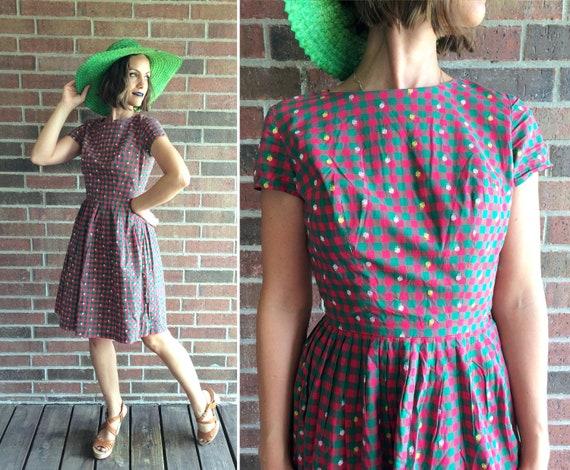 vintage 50s EMBROIDERED FLORAL gingham Full Skirt
